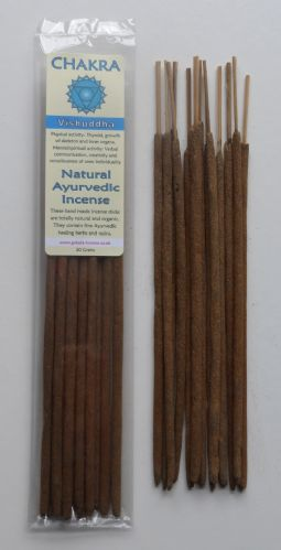 Chakra - Natural Ayurvedic Healing Incense Sticks - Vishuddha: Throat Chakra - 20 grams
